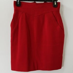 Chanel Boutique Red Side Pockets Pencil Skirt